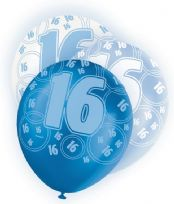 Blue Glitz Age 16 Latex Balloons (6)